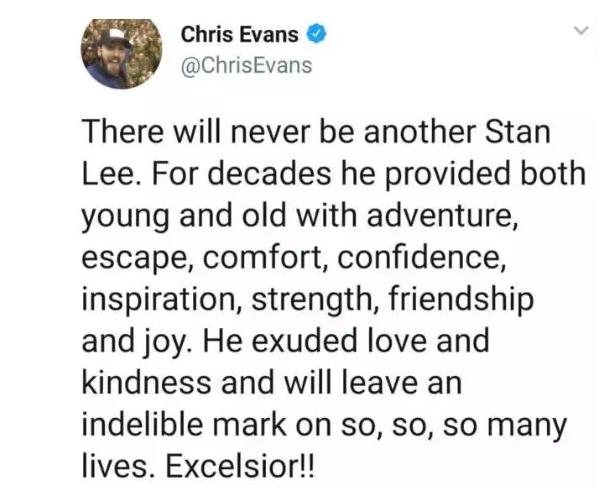 """▲""""美国队长""""克里斯·埃文斯发文悼念斯坦·李。"""