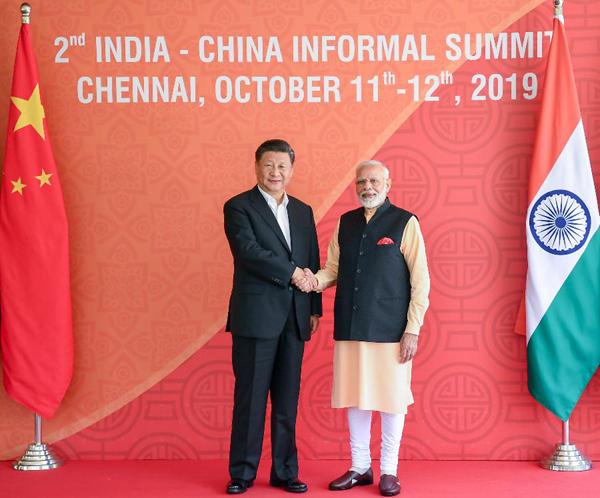 10月12日,国家主席习近平在金奈同印度总理莫迪继续举行会晤。新华社记者谢环驰摄