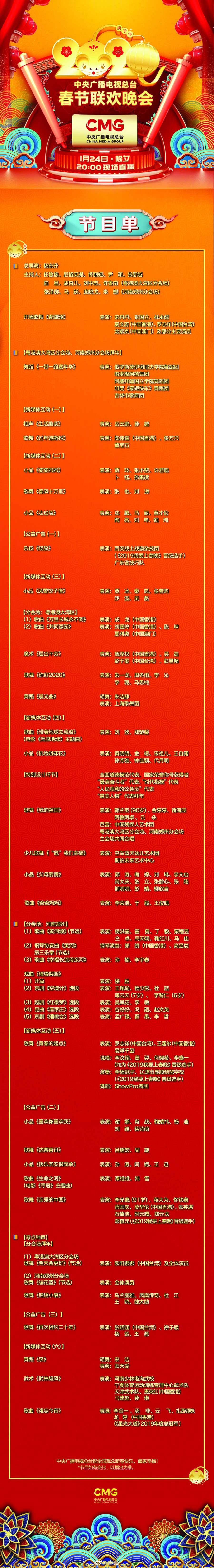 《2020年春节联欢晚会》节目单正式出炉图片