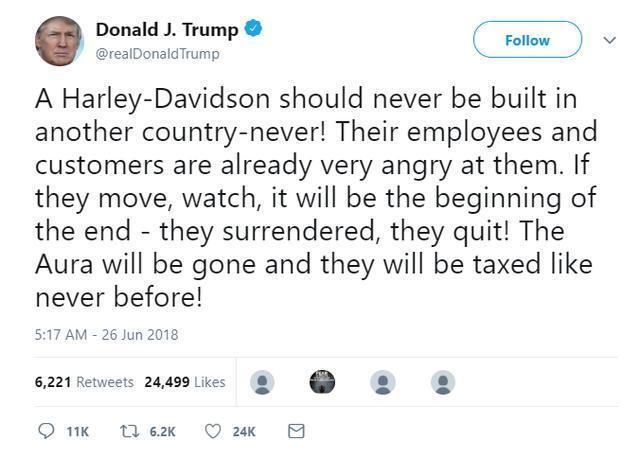 特朗普在社交媒体上威胁对哈雷加重税