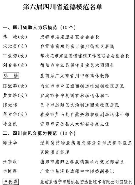 """第六届四川省道德模范名单出炉川航""""英雄机组""""、木里救火烈士等入选"""