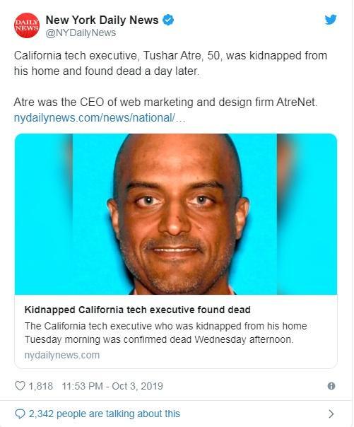 硅谷百万富翁遭绑架撕票 陈尸宝马车