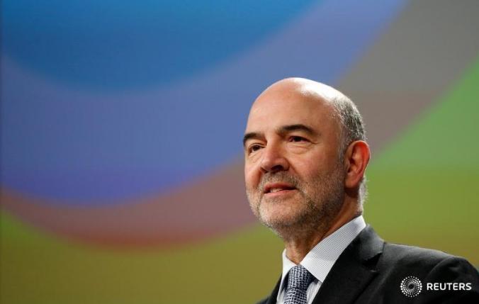 图为欧盟经济和金融事务专员皮埃尔·莫斯科维奇。(路透社)