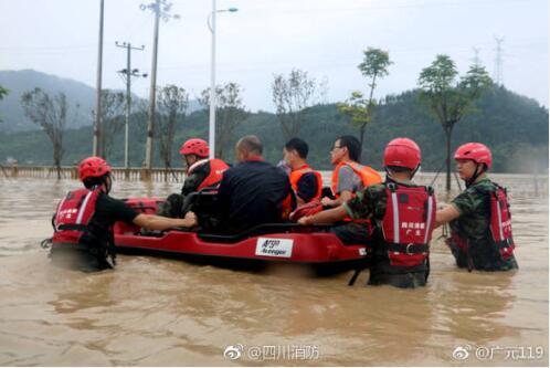 四川大部分地区普降暴雨 消防部队参加抗洪抢险1295起