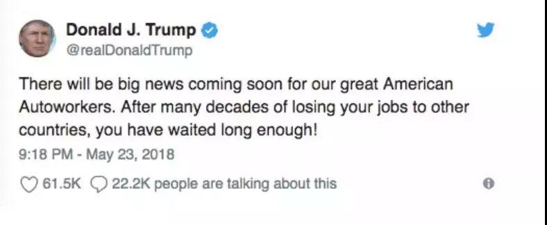 """▲5月23日,特朗普发推表示,""""我们伟大的美国汽车工人将迎来重大的好消息。"""""""