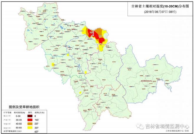 截至6月7日吉林干旱面积有所回升