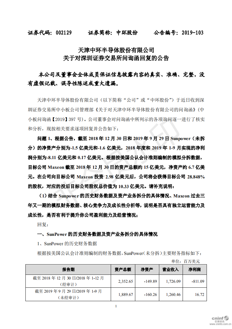 中环股份 关于对深圳证券交易所问询函的回复