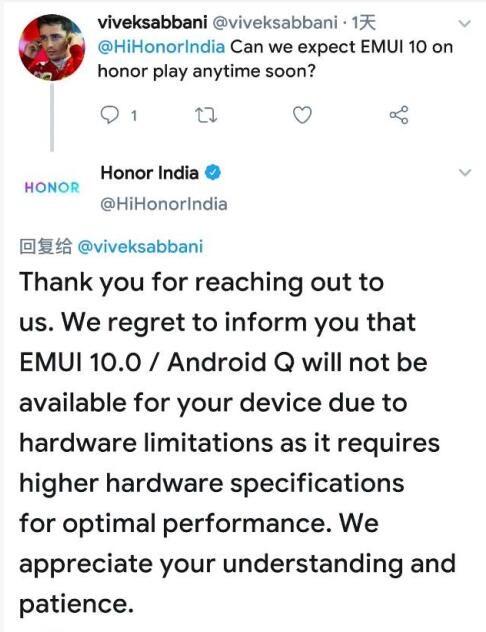 荣耀Play海外版无缘EMUI10:硬件限制