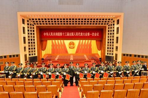 图:宪法宣誓仪式军乐演奏者合影。孙晓萌摄
