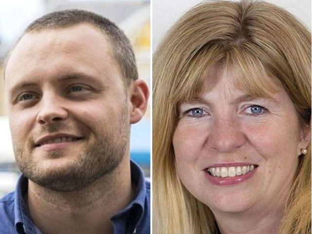 接片:英國保守黨副主席本·布拉德利(左)和瑪麗亞·考爾菲爾德。(圖片來源:英國《每日郵報》)