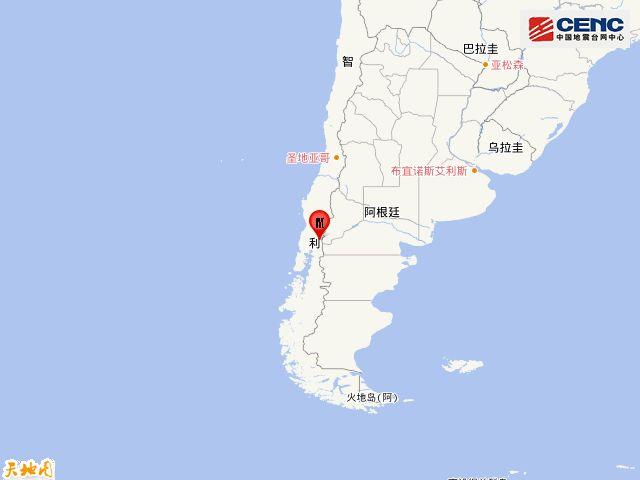 智利发生6.0级地震 震源深度110千米