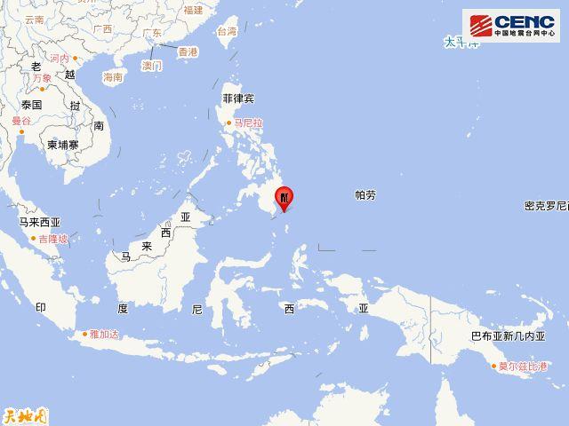 棉兰老岛发生6.2级地震 震源深度70千米