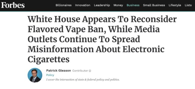 福布斯:美国电子烟监管迎转机 大众需分清好坏