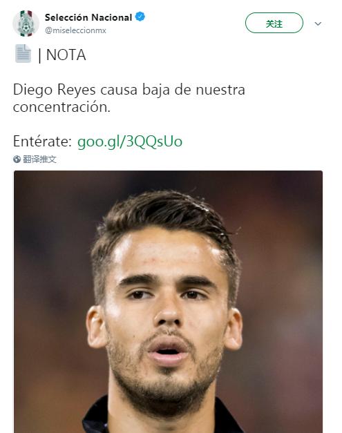墨西哥官方:后卫雷耶斯因伤退出世界杯