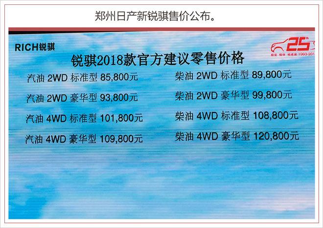 郑州日产新锐骐正式上市 售8.58万元起