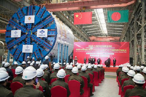 中交天和自主研发、中国出口海外最大直径盾构机下线。(图片来源:中交天和网站)