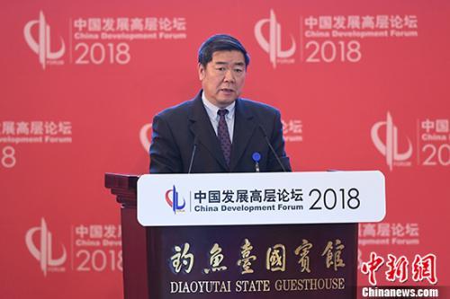3月25日,全国政协副主席、国家发展和改革委员会主任何立峰在北京举行的中国发展高层论坛上发言。 中新社记者 崔楠 摄