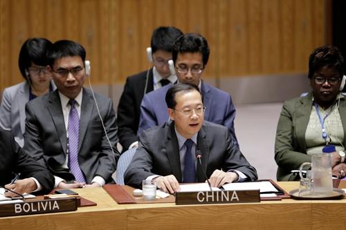 中国常驻联合国代表马朝旭大使在安理会访问孟加拉国和缅甸通报会上发言。