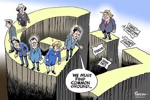 """▲[G7峰会,共识难寻]在加拿大举行的七国集团(G7)峰会上,加拿大总理特鲁多说:""""我们必须找到共同点……""""而美国总统特朗普形单影只,在贸易、巴以冲突、气候变化及与伊朗关系等问题上与G7其他领导人格格不入。(美国卡格尔漫画网)"""
