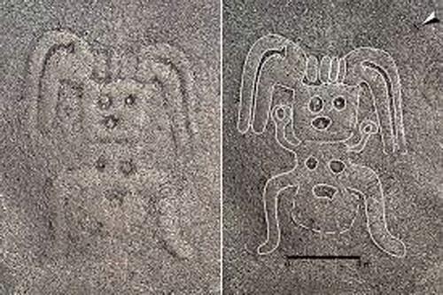"""科学家在秘鲁纳斯卡发现新地画 惊现人形方头""""怪物""""图案"""