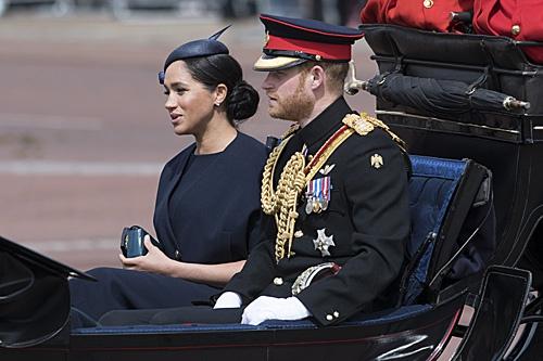 当地时间2019年6月8日,在英国伦敦,英国哈里王子与妻子梅根乘马车离开白金汉宫。(新华社)