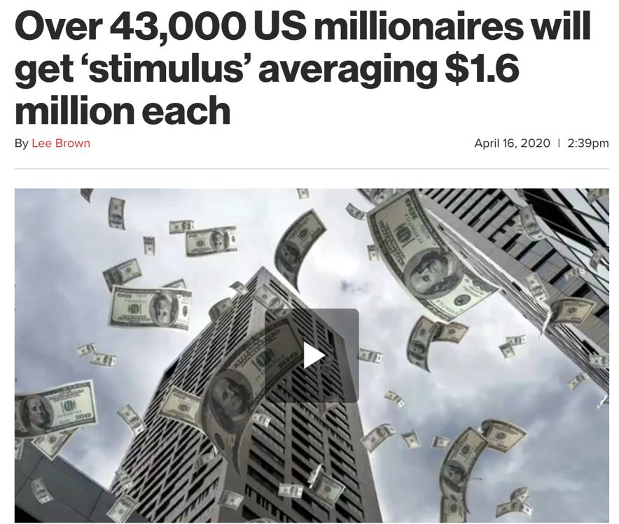 △《纽约邮报》刊文,抨击年收入百万以上的富人将从经济救助法案中获取巨大利益