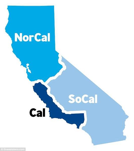 如果德雷珀的提议成为现实,美国加州将如图所示,一分为三。(图片来源:外媒)