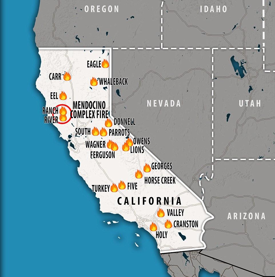 加州主要山火分布图