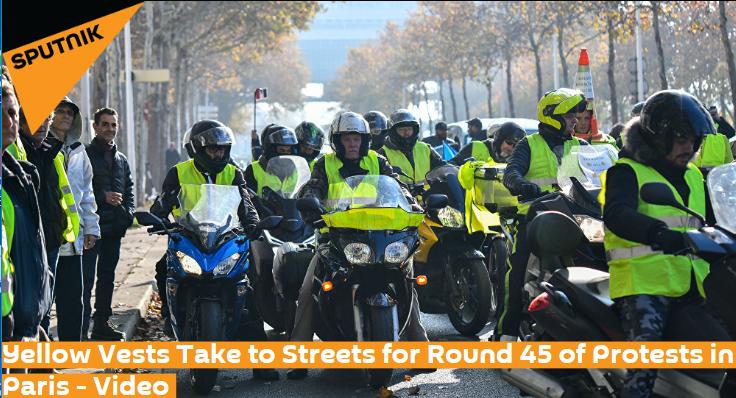 """又有30名""""黄背心""""示威者被捕 法国巴黎出动7500名警察(图)"""