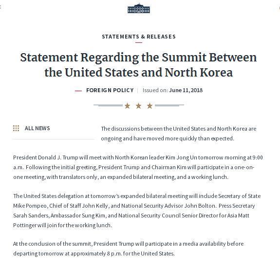 白宫公布特金会详细日程。(图源:白宫官网)