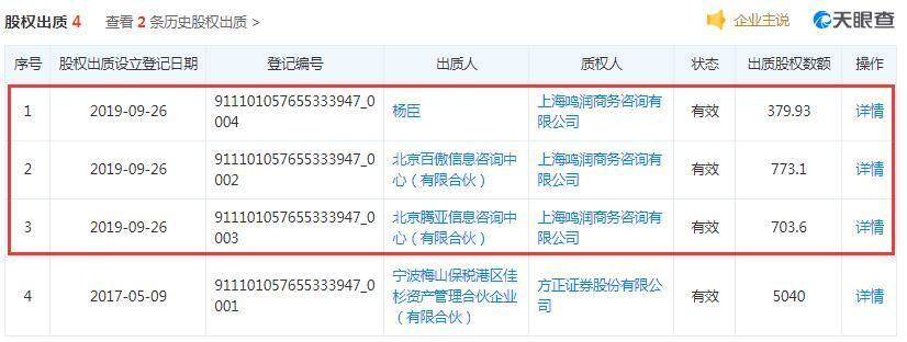 明亚保险经纪董事长杨臣等3股东出质1856.63股权