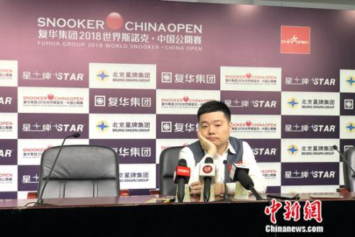 丁俊晖遗憾无缘本届中国公开赛八强。中新网记者 王牧青 摄