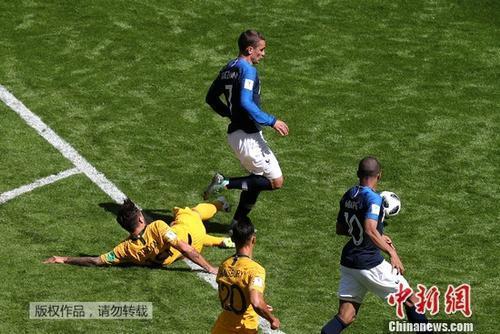 VAR助法国队获得一粒点球。