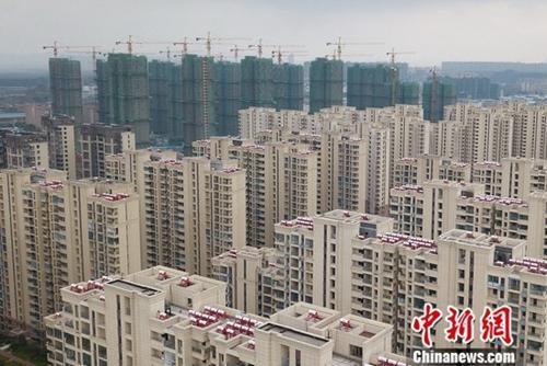 圖爲航拍南京城北一處樓盤。中新社記者 泱波 攝