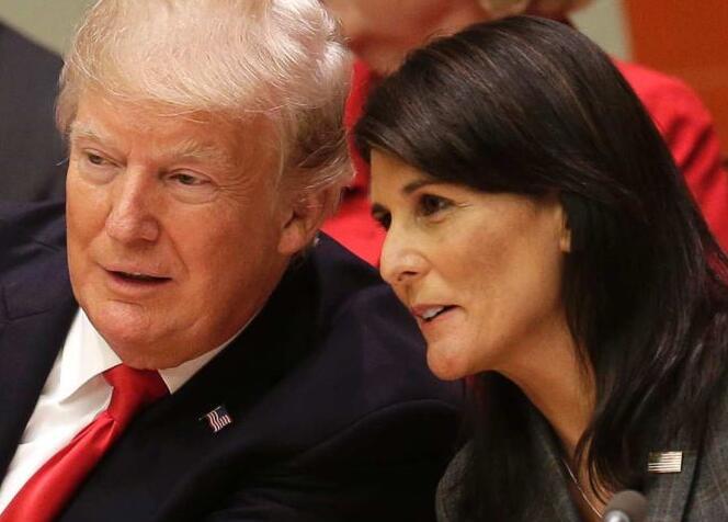 美国总统特朗普和美国驻联合国大使黑莉