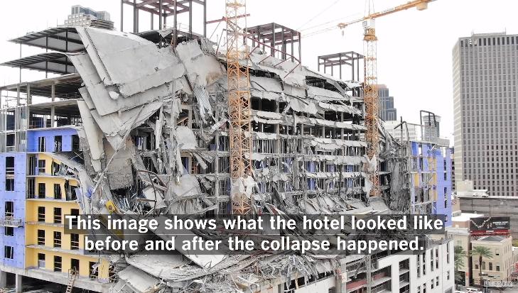 坍塌前后对比 视频截图