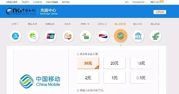 ▲中國知網已調整收費方式,目前可通過短信支付可以選擇小金額充值