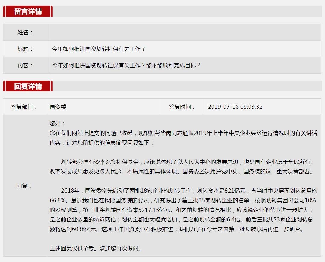 2019年第三季度国资委网站五大互动热点