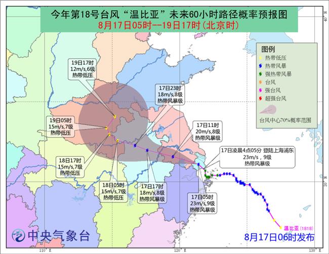 """台风""""温比亚""""登陆上海  江淮黄淮等地将有强降雨"""