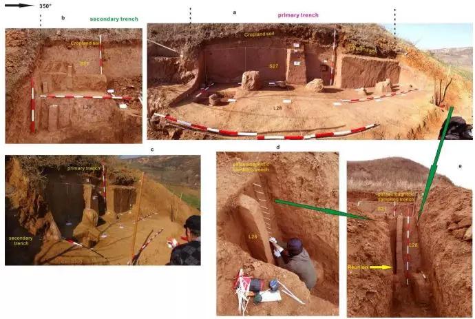 上陈旧石器遗址发掘图。