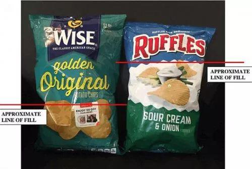 怀斯薯片和其他薯片空气含量对比