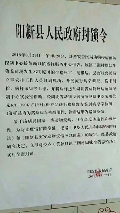 湖北阳新县发生猪瘟疫情 官方:不是非洲猪瘟