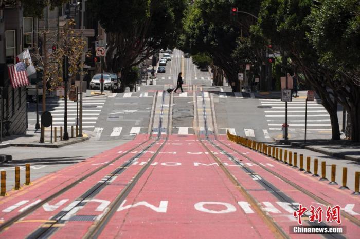 当地时间4月25日,美国旧金山街头冷冷清清。中新社记者 刘关关 摄