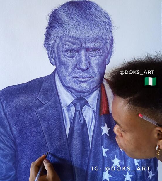 网友用圆珠笔画特朗普肖像 特朗普:你很厉害(图)