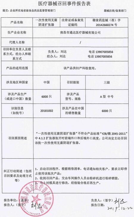 """南昌市通达医疗器械召回6000只""""一次性无菌阴道扩张器"""""""