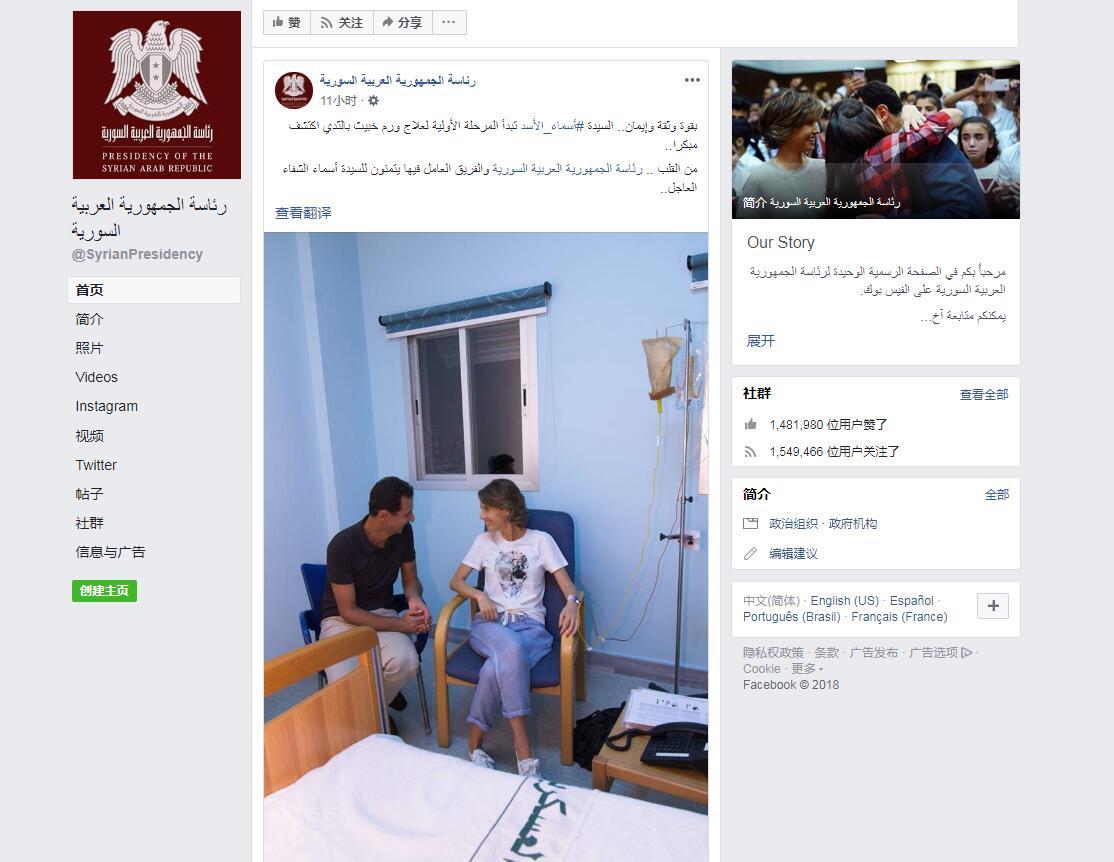 (叙利亚总统办公厅脸书截图)