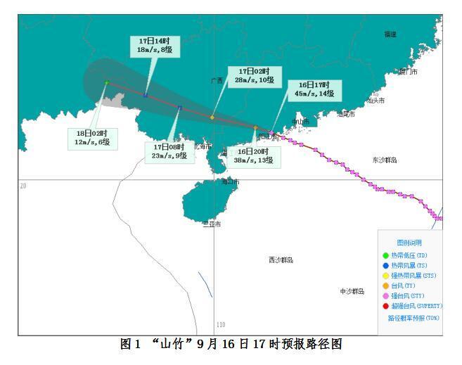 """16日夜间""""山竹""""将进入广西 海南北部和西部局地有大暴雨"""