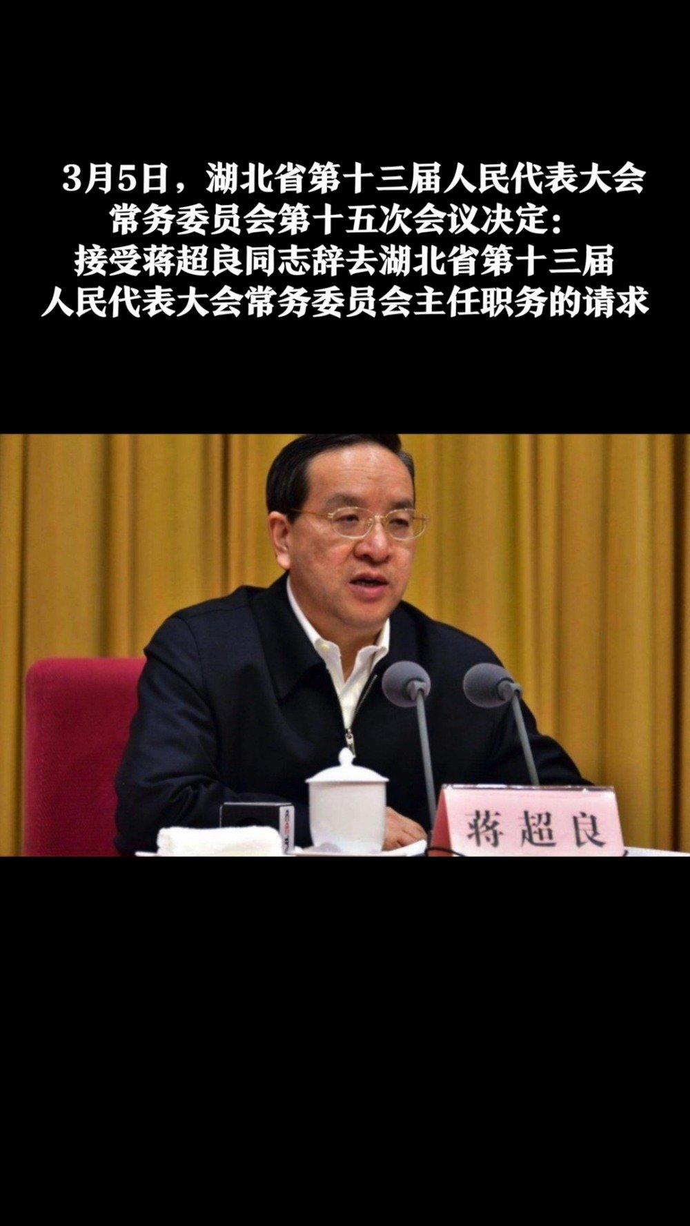 再卸一职!蒋超良辞去湖北省人大常委会主任职务