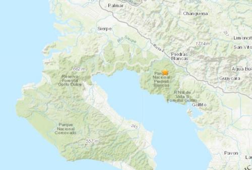 哥斯達黎加西南沿海地區發生5.3級地震。(圖片來源:美國地質勘探局網站截圖)