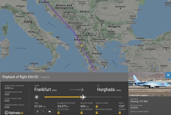 曾一度与地面失去联络的德国波音737客机飞行轨迹 图源:Flightradar24